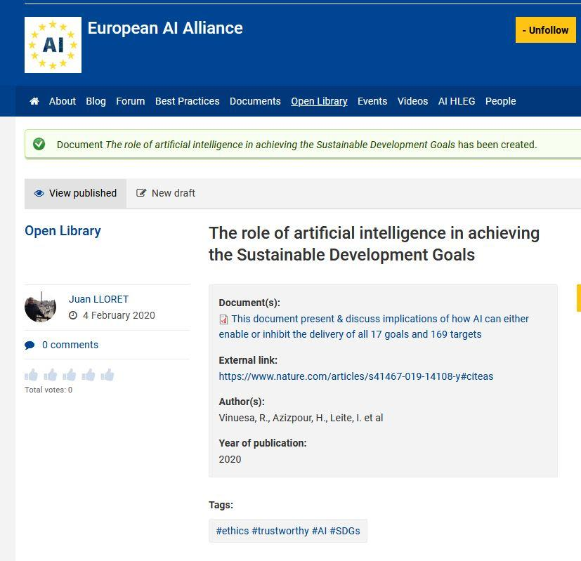 EU AI Alliance Sustainable Development Goals (SDGs)